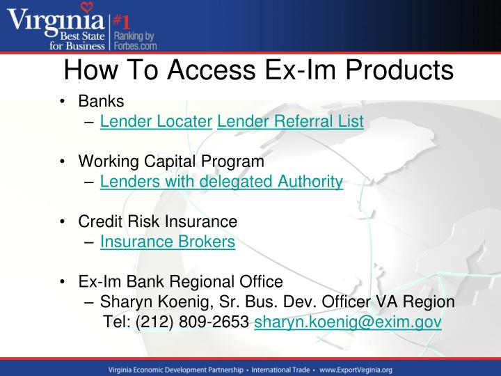 How To Access Ex-Im Products