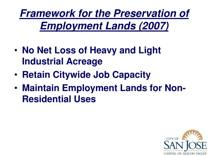 Framework for the Preservation of Employment Lands (2007)