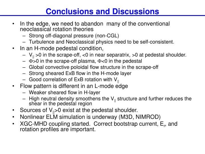 Conclusions and Discussions