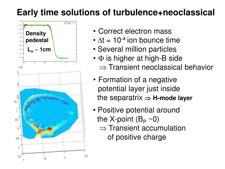 Early time solutions of turbulence+neoclassical