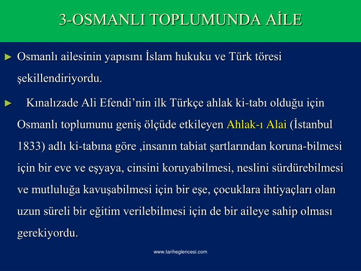 Osmanlı ailesinin yapısını İslam hukuku ve Türk töresi şekillendiriyordu.