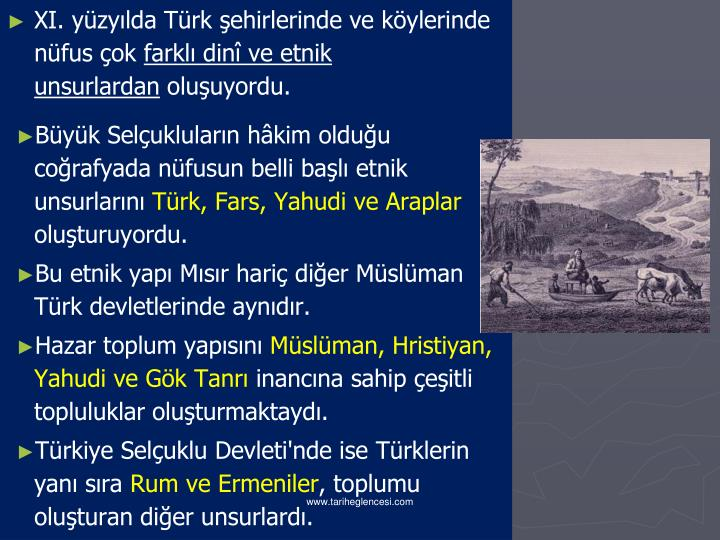 XI. yüzyılda Türk şehirlerinde ve köylerinde nüfus çok
