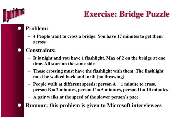 Exercise: Bridge Puzzle