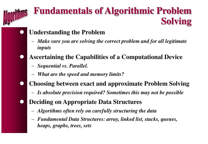 Fundamentals of Algorithmic Problem Solving