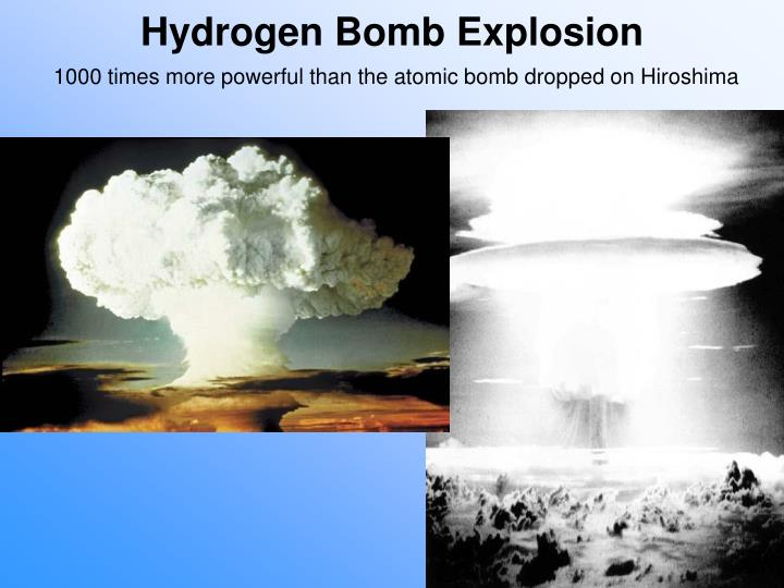 Cold War tensions increased in the USSR when the US exploded its first hydrogen bomb in 1952. It was 1000 times more powerful than the Hiroshima atomic bomb.