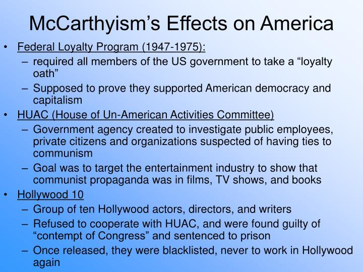 McCarthyism's Effects on America