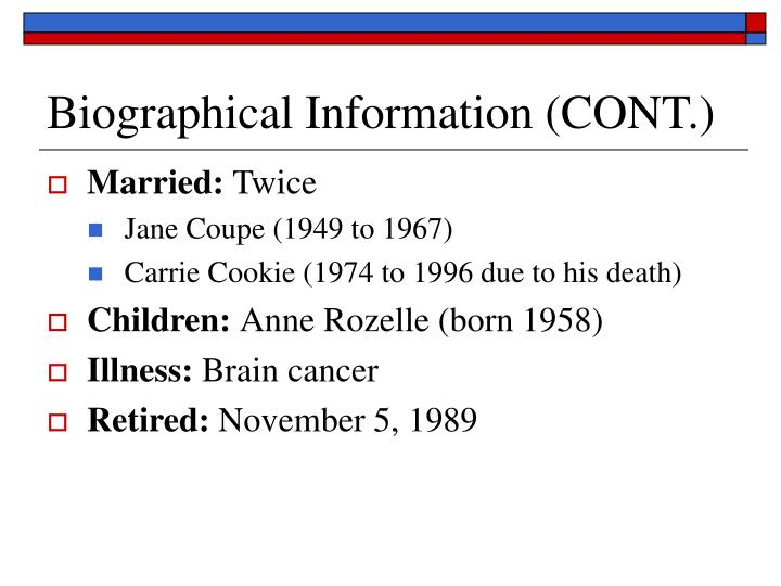 Biographical information cont