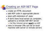 creating an asp net page