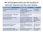 we will progressively see the quality of internet improve and the cost reduce