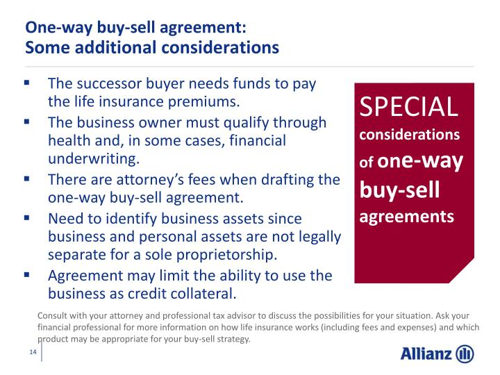 One-way buy-sell agreement: