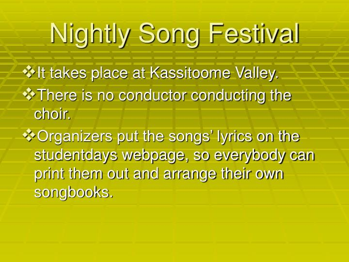 Nightly Song Festival