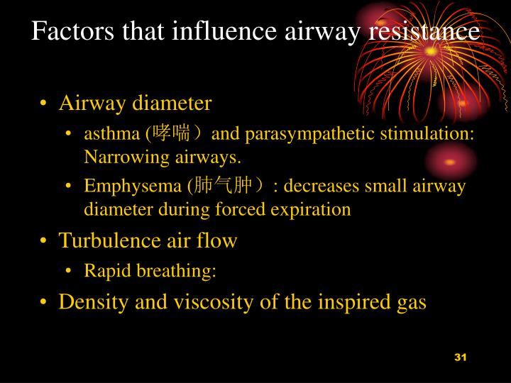 Factors that influence airway resistance