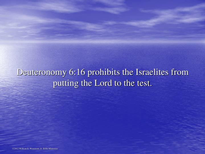 Deuteronomy 6:16 prohibits the Israelites from putting the Lord to the test.