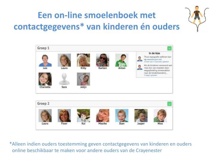 Een on-line smoelenboek met contactgegevens* van kinderen én ouders
