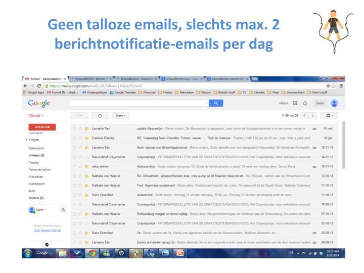 Geen talloze emails slechts max 2 berichtnotificatie emails per dag