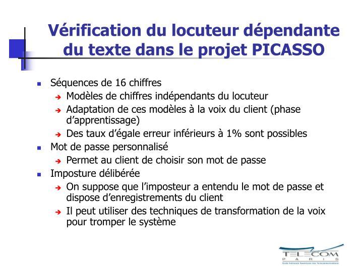 Vérification du locuteur dépendante du texte dans le projet PICASSO