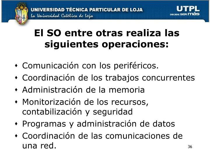 El SO entre otras realiza las siguientes operaciones: