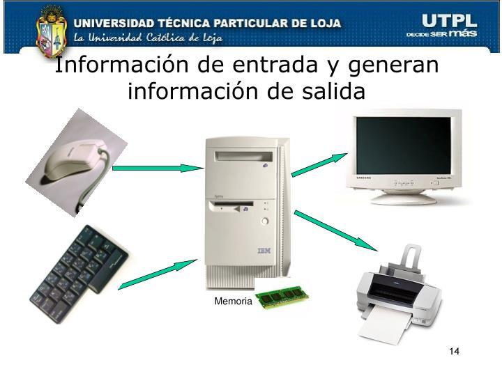 Información de entrada y generan información de salida