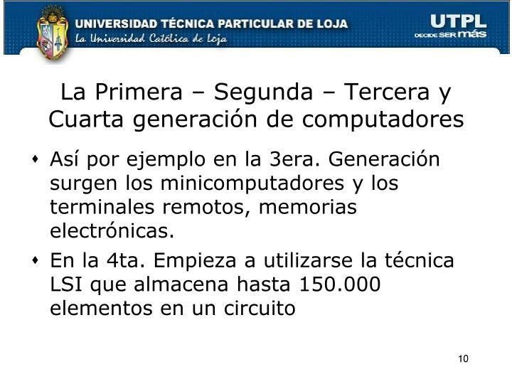 La Primera – Segunda – Tercera y Cuarta generación de computadores