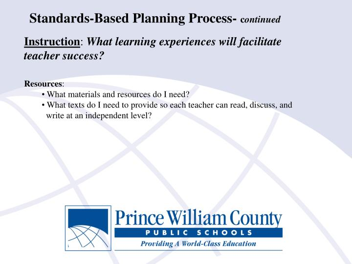 Standards-Based Planning Process-