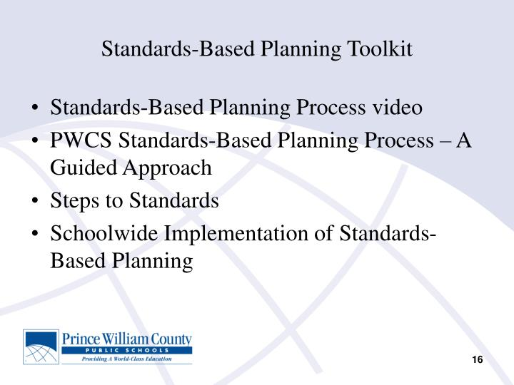Standards-Based Planning Toolkit