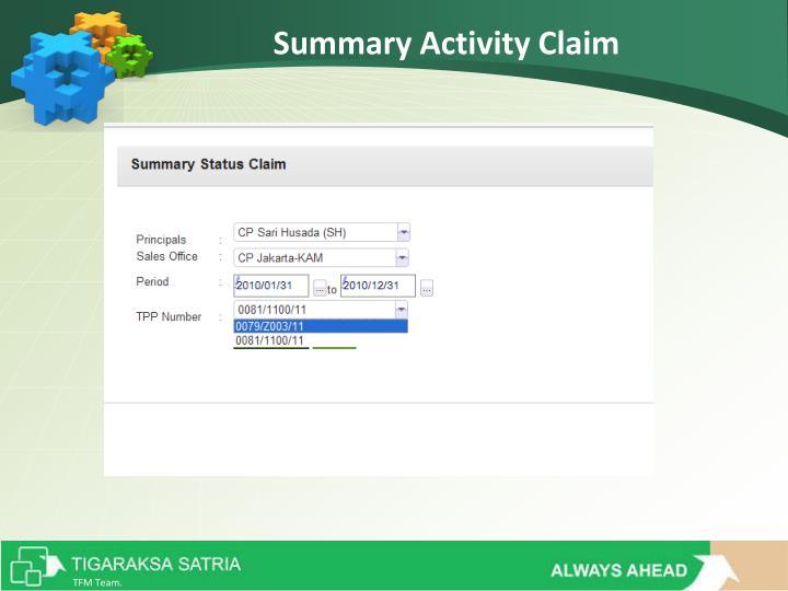 Summary Activity Claim