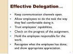 effective delegation cont