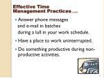 effective time management practices cont