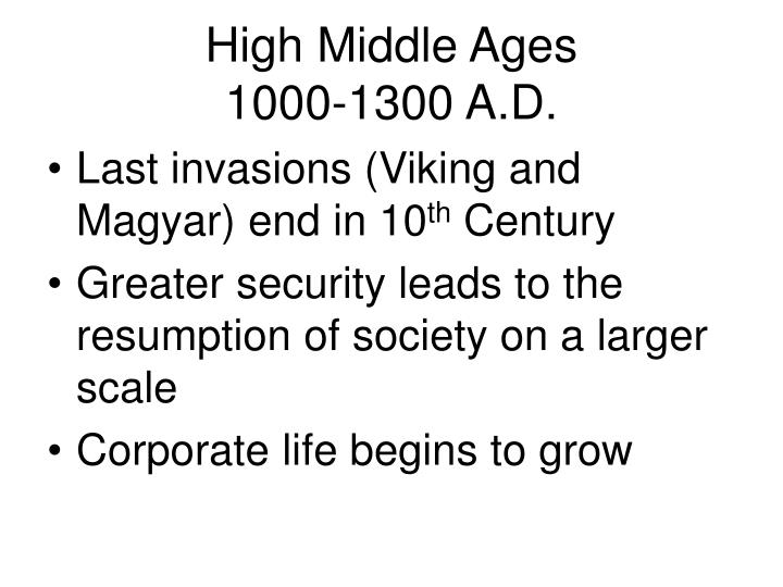 high middle ages 1000 1300 a d n.
