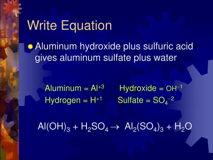 Write Equation