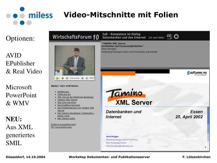 Video-Mitschnitte mit Folien