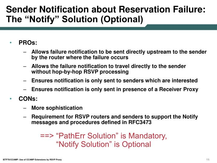 """Sender Notification about Reservation Failure: The """"Notify"""" Solution (Optional)"""
