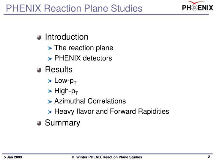 Phenix reaction plane studies1