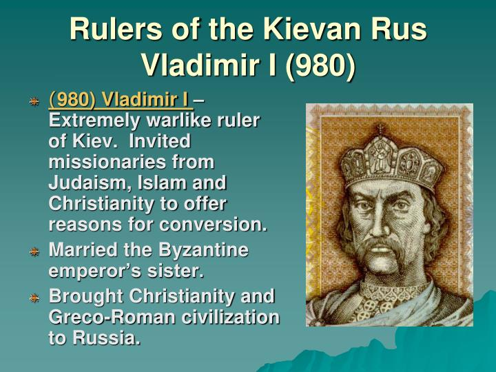 """20 russia the kievan rus and Muscovite rulers up to ivan the terrible were descendants from hrørik, the founder of kievan russia """"kievan rus"""" is russia before the mongol invasion."""