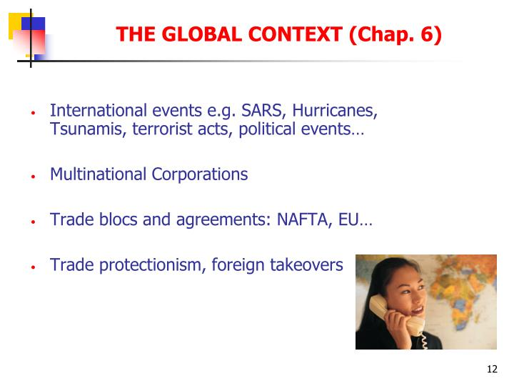 International events e.g. SARS, Hurricanes, Tsunamis, terrorist acts, political events…