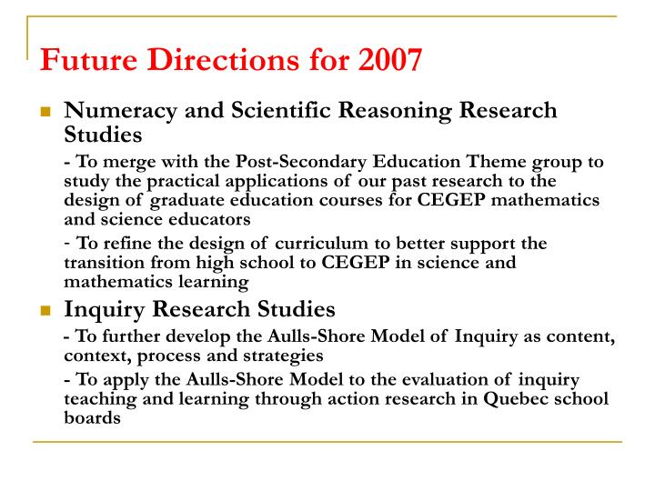 Future Directions for 2007
