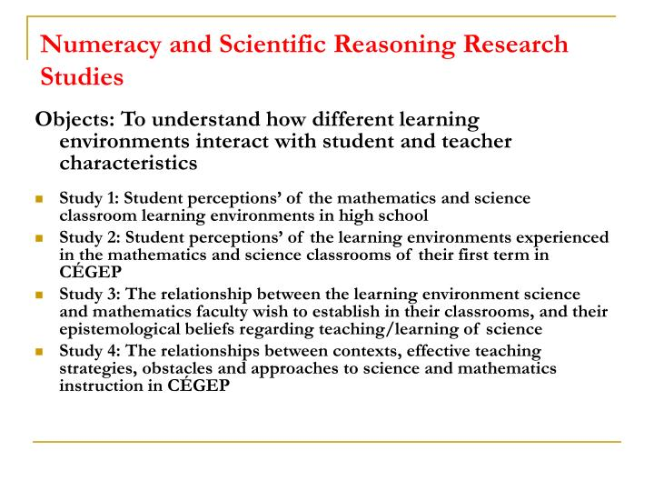 Numeracy and Scientific Reasoning Research Studies