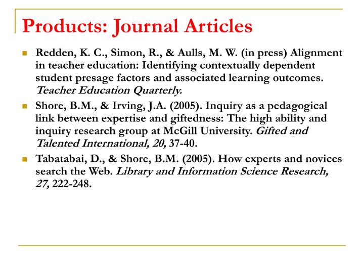 Products: Journal Articles