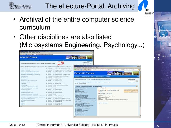 The eLecture-Portal: Archiving