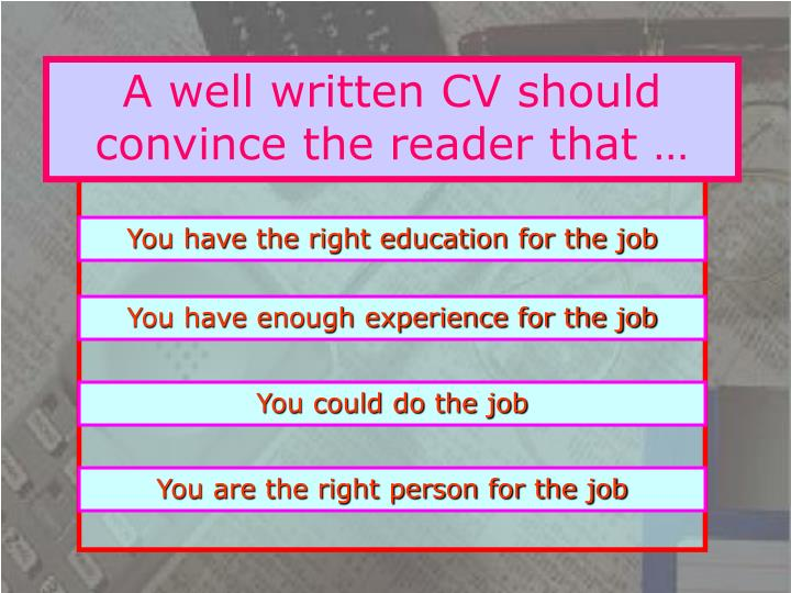 A well written CV should convince the reader that …