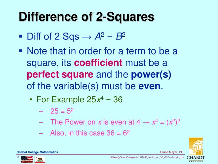 Difference of 2-Squares