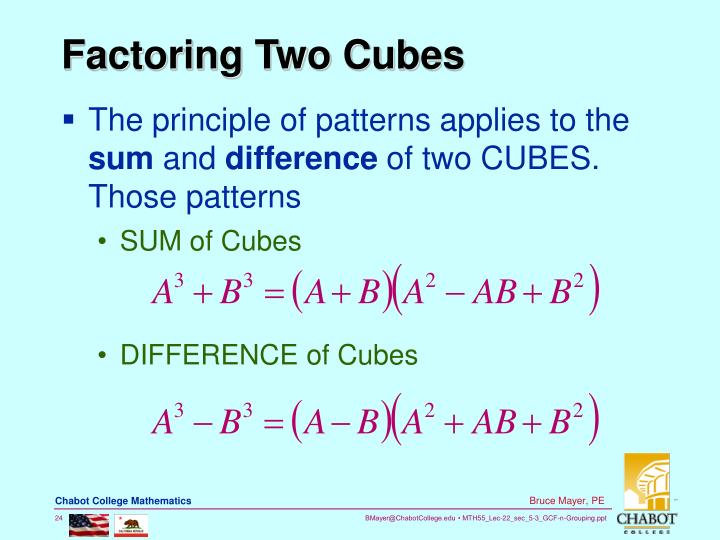 Factoring Two Cubes