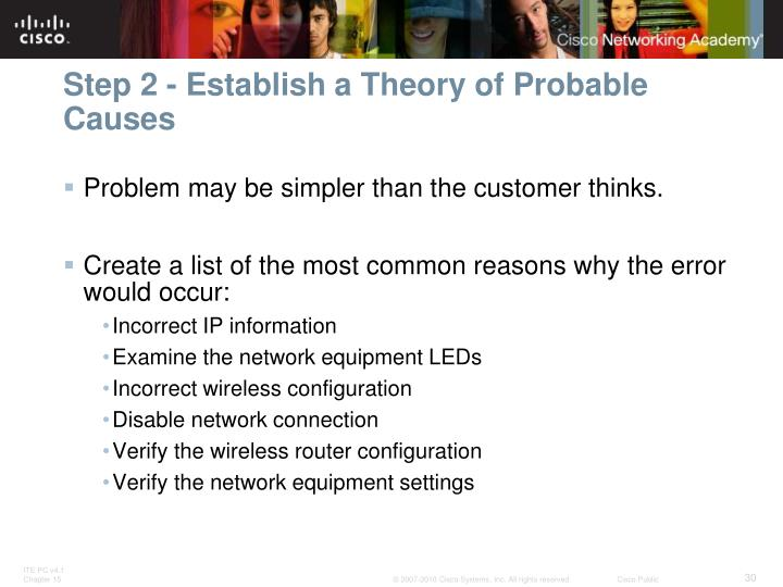 Step 2 - Establish a Theory of Probable Causes