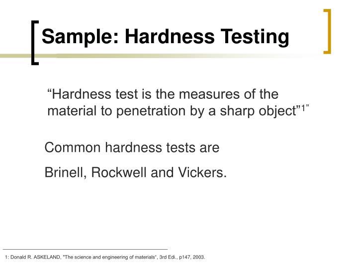 Sample: Hardness Testing