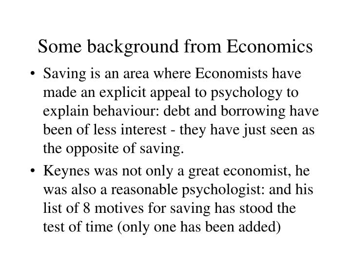 Some background from economics