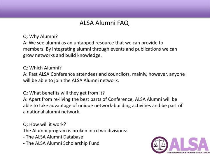 ALSA Alumni FAQ