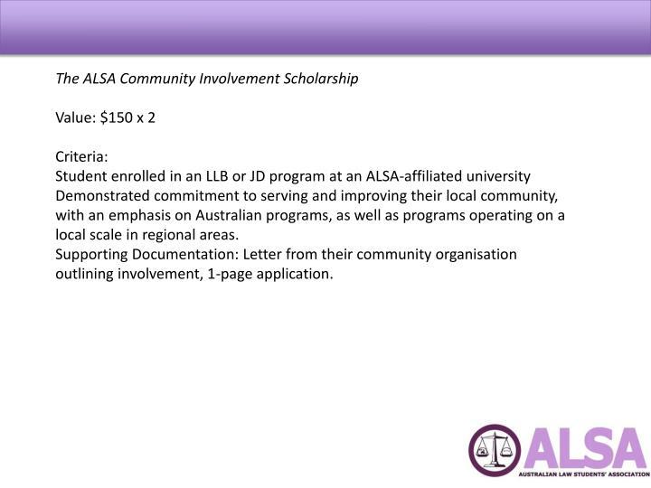The ALSA Community Involvement Scholarship