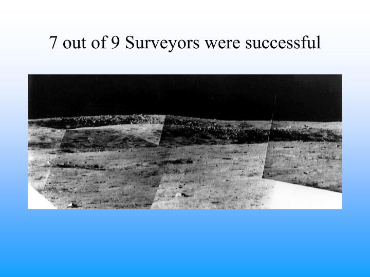 7 out of 9 Surveyors were successful