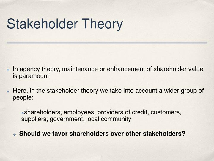 agency theory vs stakeholder theory