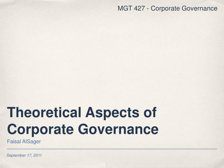 theoretical aspects of corporate governance n.